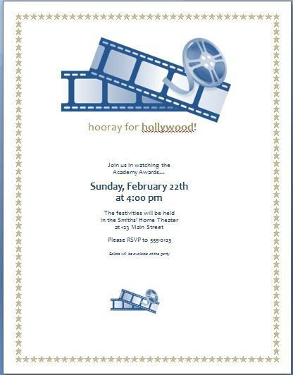 Movie Award Party Invitation Template | Formal Word Templates