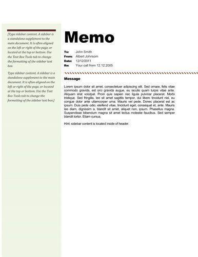 Standard Memo Template. Standard Memo Format Sample Memo Format ...