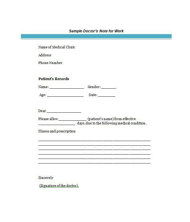 Fake Doctors Note Template Free Doctor Excuse Pdf Sick | doc notes ...