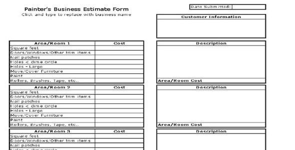 Painters Business Estimate Form | Construction Estimating Sheet
