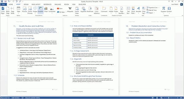 Quality Assurance Plan Template (MS Word + 7 Excel Spreadsheets)
