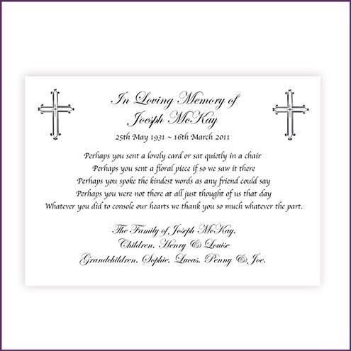Thank You Cards from Sprinter Memorial Cards, helping thank close ...