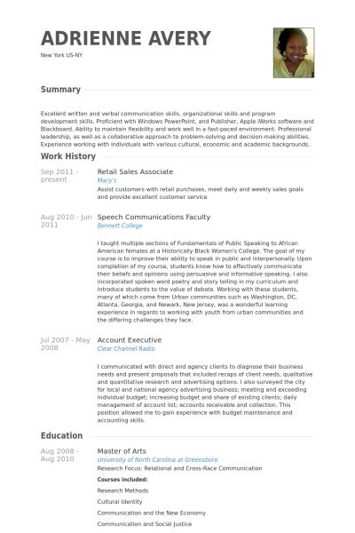 Retail Sales Associate Resume samples - VisualCV resume samples ...