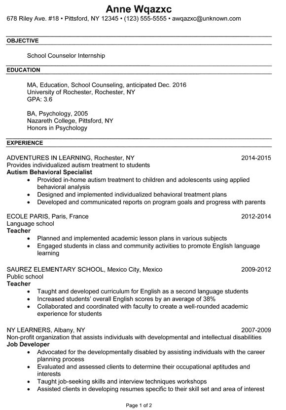 Resume Example School Counselor Internship - Susan Ireland Resumes