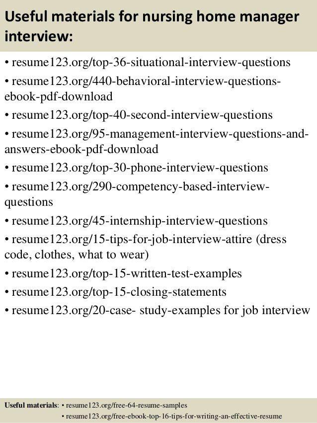 Top 8 nursing home manager resume samples