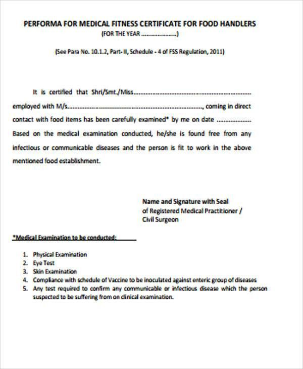 Sample Medical Fitness Certificates - 6+ Examples in Word, PDF