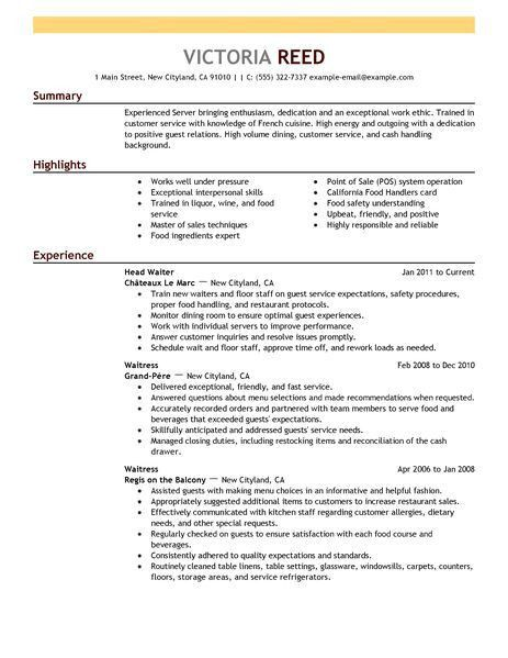 waiter resume objective resume job description waitress niwe