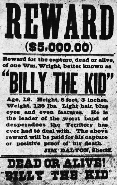 Billy the Kid Wanted Poster take note of the sheriffs name---Jim ...