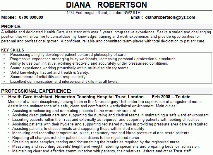 Template of Personal Care Assistant Resume - SampleBusinessResume ...