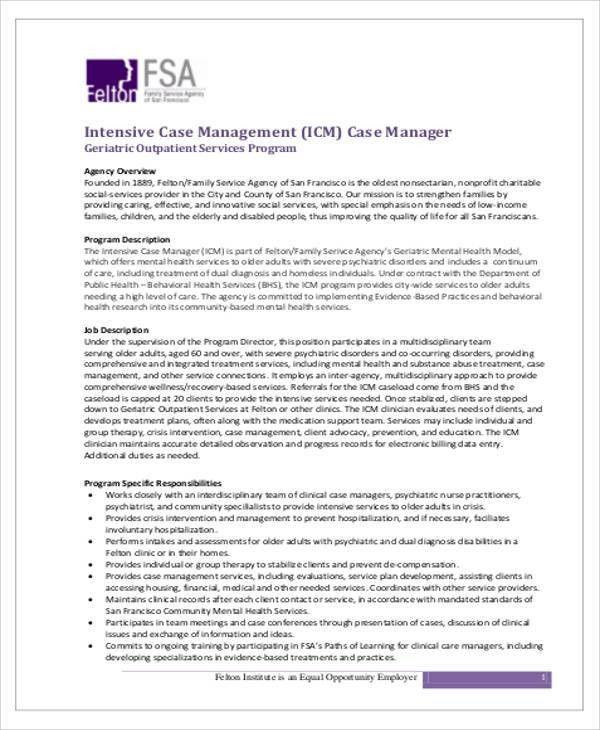 Case Management Job Description Sample - 8+ Examples in Word, PDF