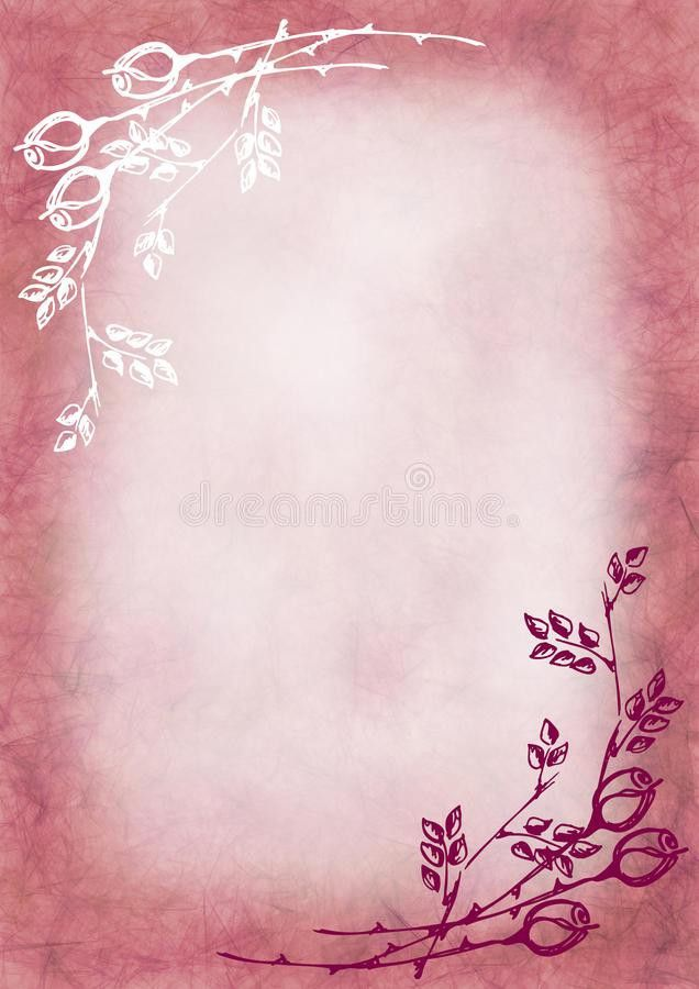 Hand Drawn Textured Floral Background In Pink Colors With Rose And ...