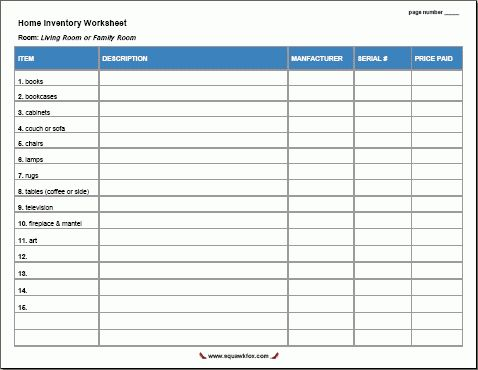 15 Free Printable Home Inventory Worksheets - Squawkfox