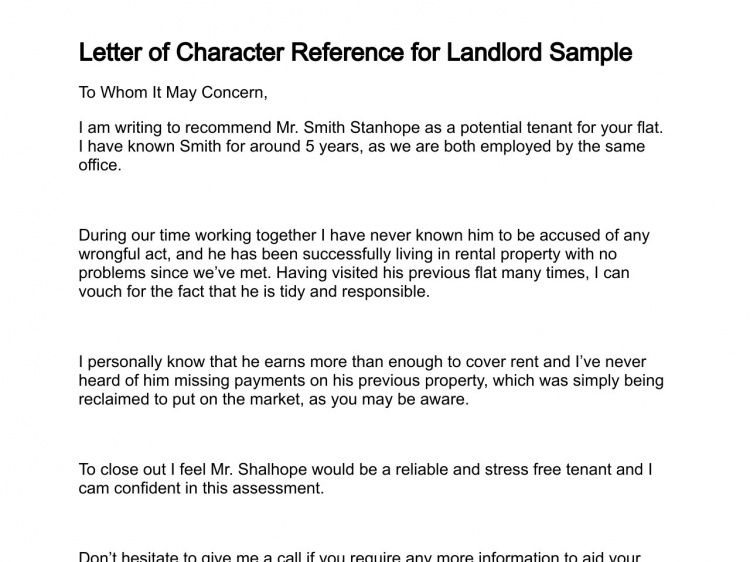 Personal Reference Letter For Housing - Mediafoxstudio.com