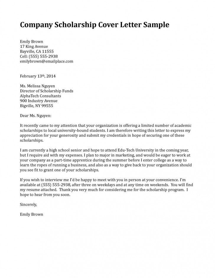 Scholarship Cover Letter | | jvwithmenow.com