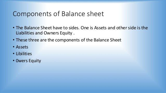 Balance sheet presentation by RD