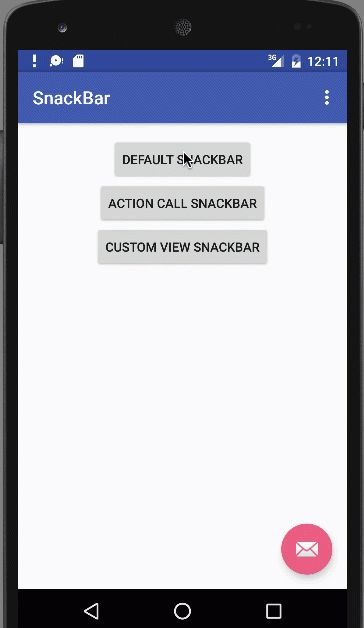Android Snackbar Example Tutorial - JournalDev
