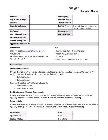 Job description form - Office Templates
