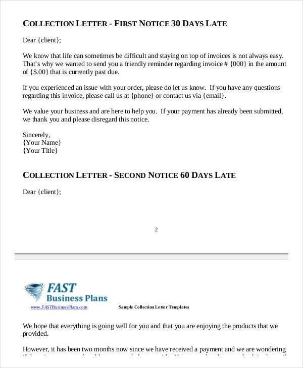 Collection Letter Samples   7+ Free Word, PDF Documents Download .