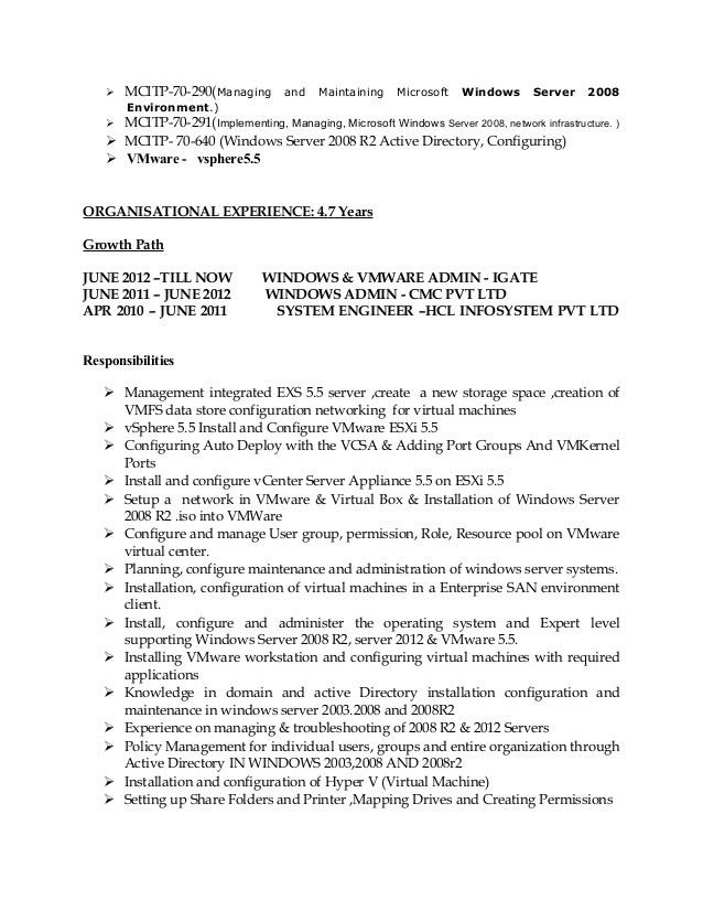 active directory resume network system administrator cv it