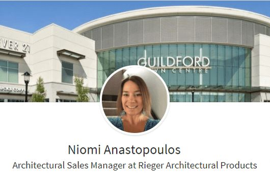Welcome Niomi - BC Architectural Sales | Rieger Architectural Products