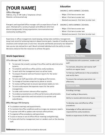 Office Manager Resume Contents, Layouts & Templates | Resume Templates