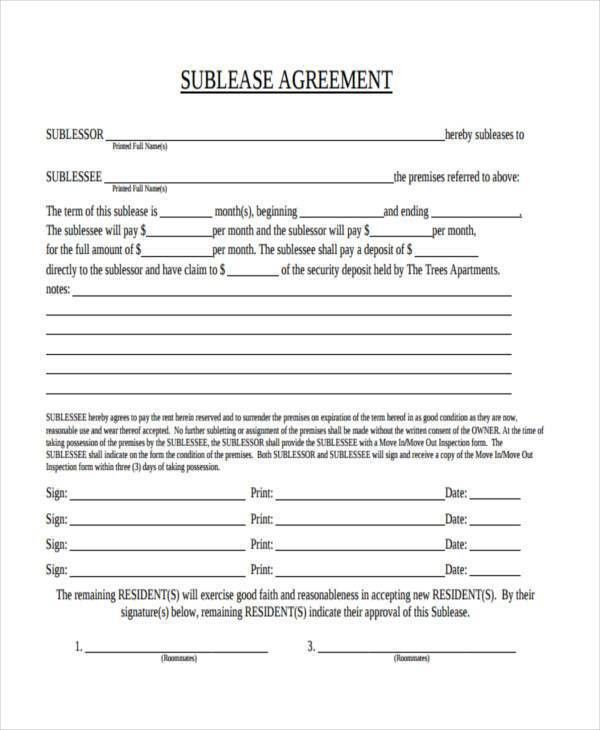 Basic sublet agreement sublease agreement form sublet contract good faith agreement ex 1017 sublease agreement 16 download platinumwayz