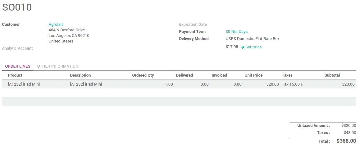How to invoice the shipping cost to the customer? — Odoo Business ...