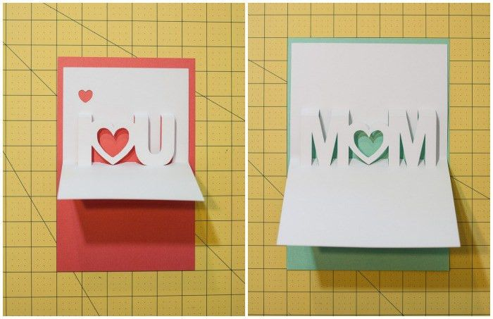 Mom, I Love You Pop Up Cards with Free Silhouette Cut Files - One ...