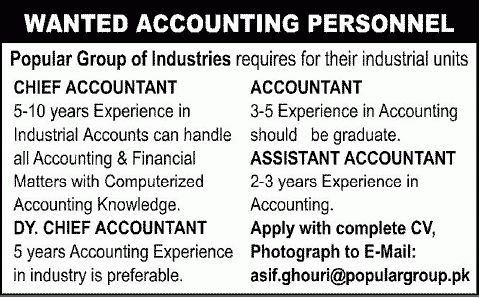 Assistant Accountant Job, Popular Industries Job, Chief Accountant ...