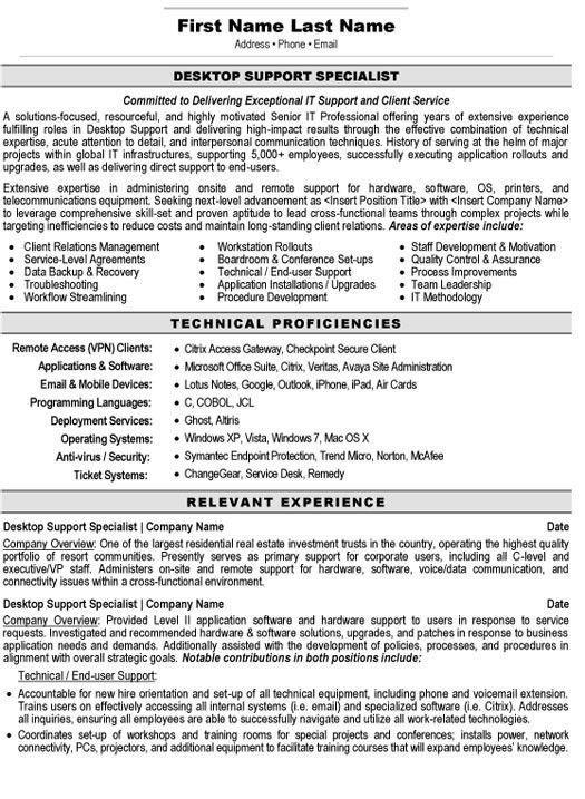 Download Desktop Support Technician Resume   haadyaooverbayresort.com