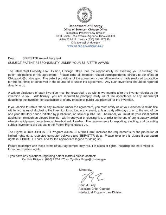 2013/11/00 - Patent Responsibility Letter for SBIR/STTR
