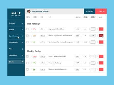 Timesheet Dashboard by Annette Furio - Dribbble