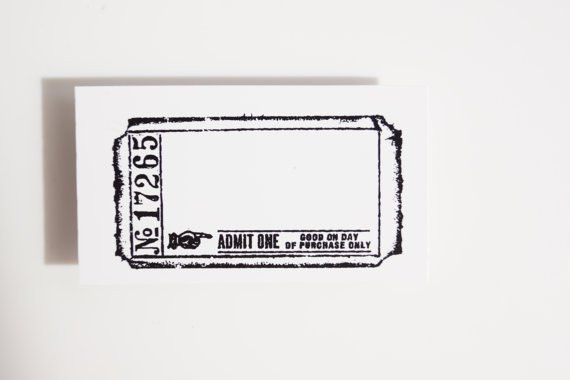 Blank Admit One Ticket Stamp (Rubber Cling Mounted Stamp) - Paper ...