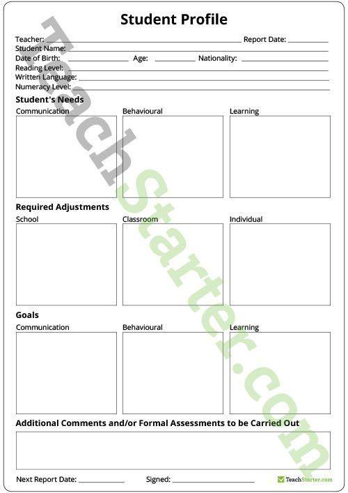 Student Profile Template Teaching Resource – Teach Starter