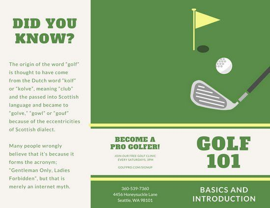 Green and Yellow Golf Brochure - Templates by Canva