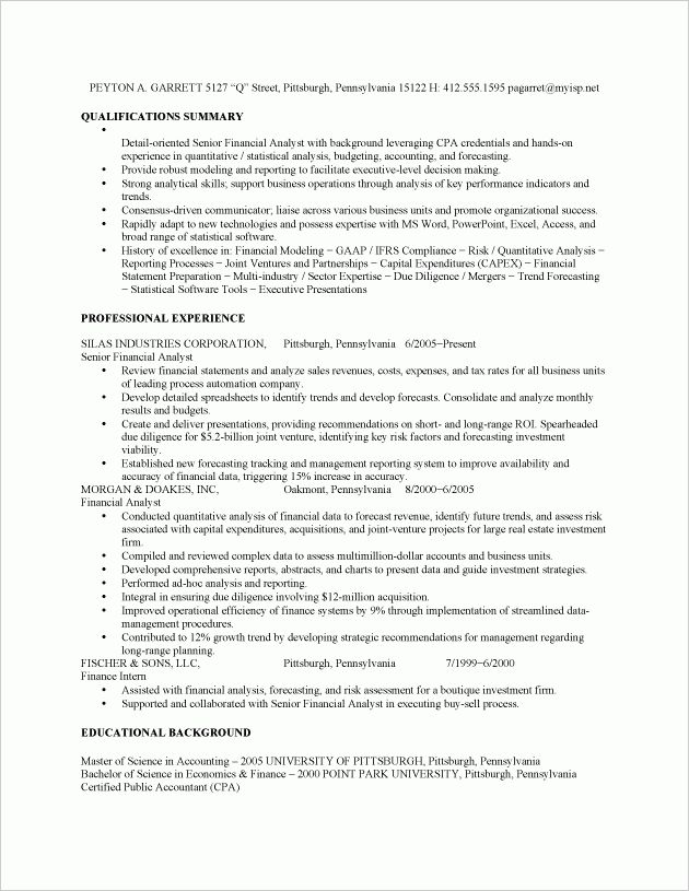Financial Analyst Job Resume Sample - Fastweb