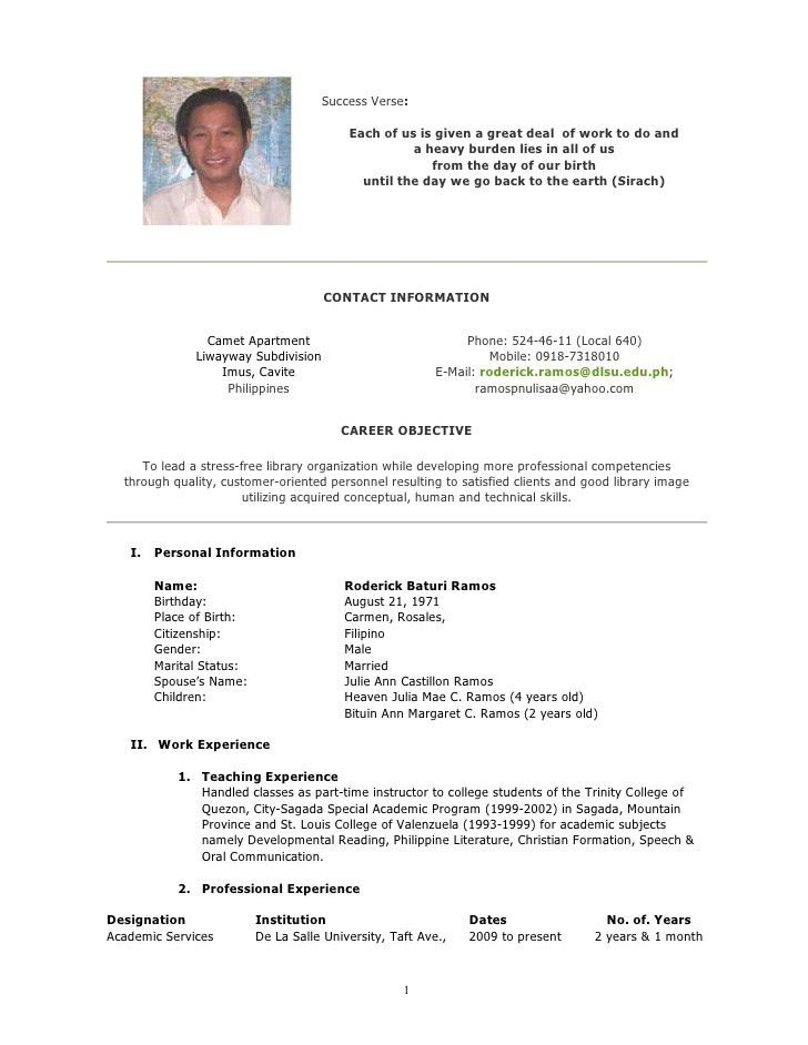 Curriculum vitae template graduate school application