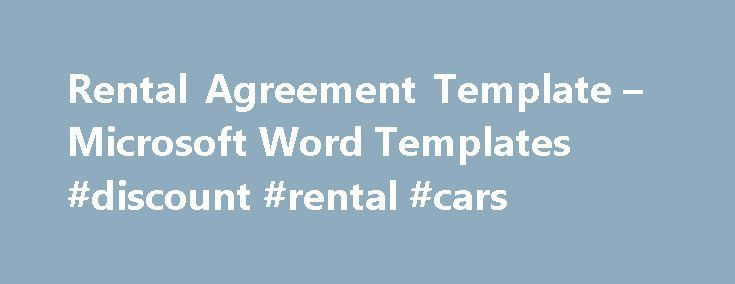Rental Agreement Template – Microsoft Word Templates #discount ...