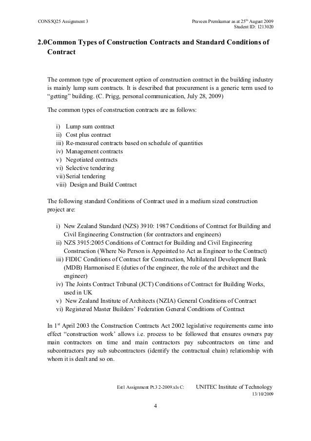 3.0 Common Types of Construction Contracts & Standard Conditions of C…
