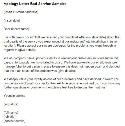 Apology Letter For Bad Service Sample | Just Letter Templates ...