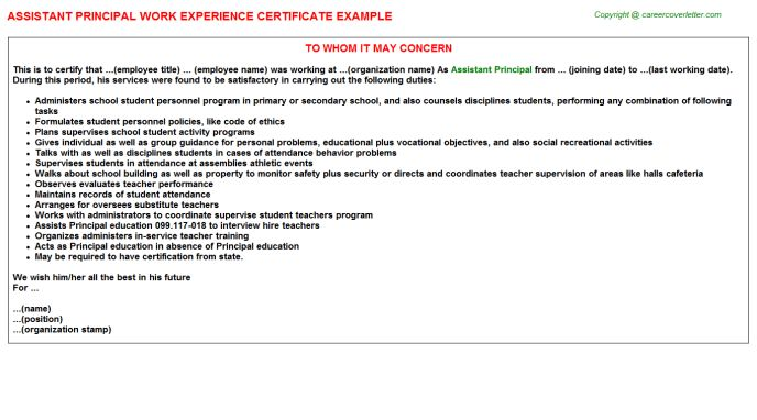 Assistant Principal Work Experience Certificate