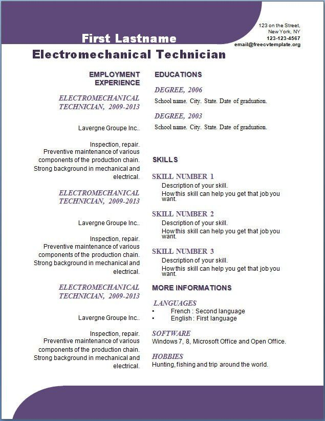 Free CV template #107 to 113 – Free CV Template dot Org