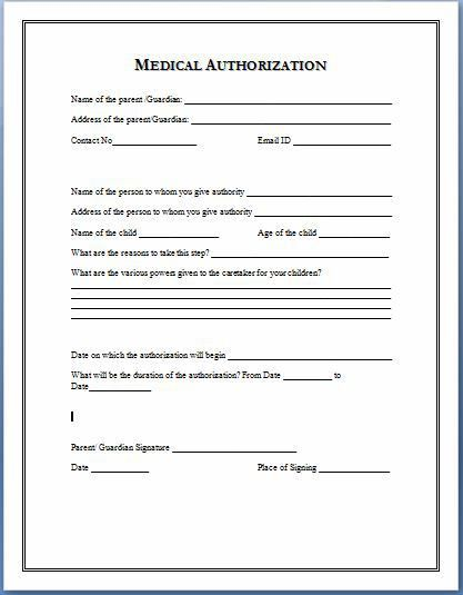 Medical Authorization Form Template | TO COPY | Pinterest ...