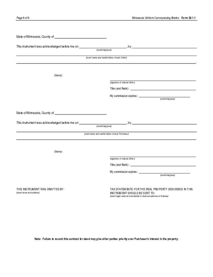 Contract for Deed by Individual - Minnesota Free Download