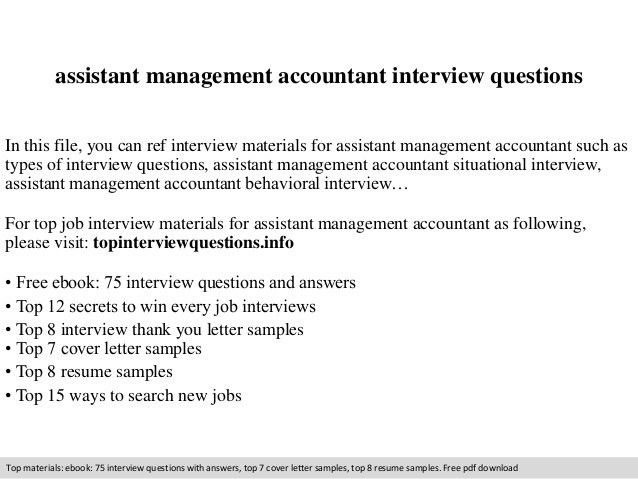 Assistant management accountant interview questions