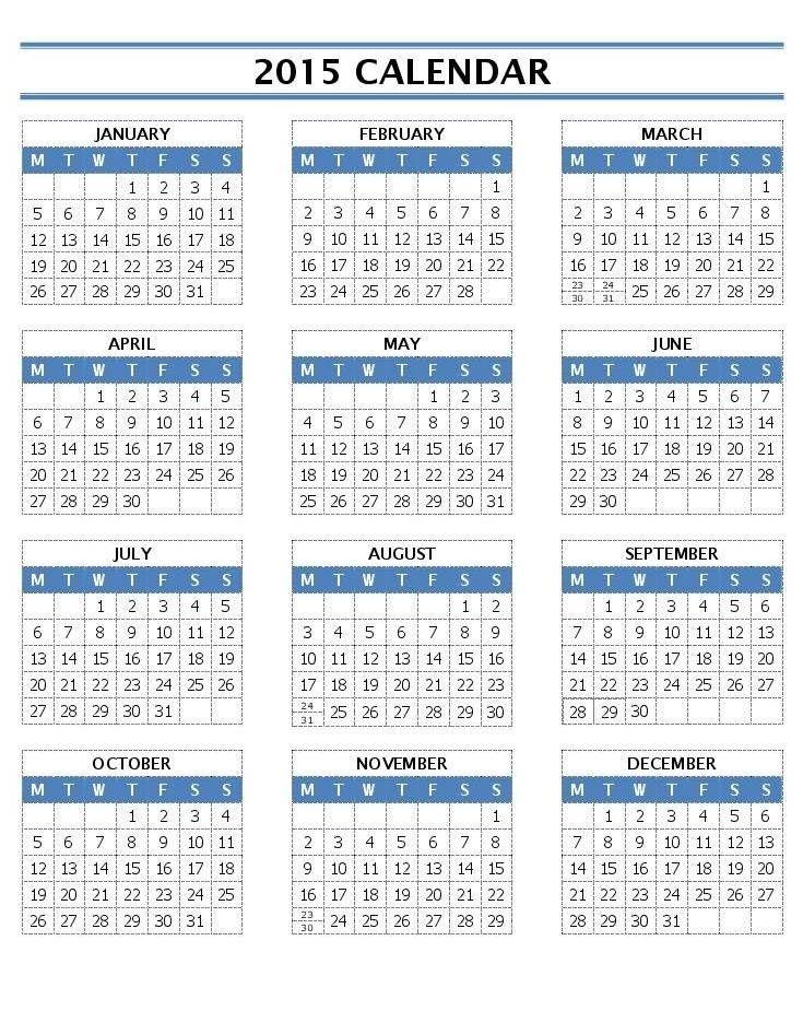 2015 Word Calendar Template - Contegri.com