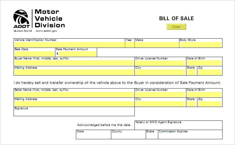 Arizona Bill Of Sale Form