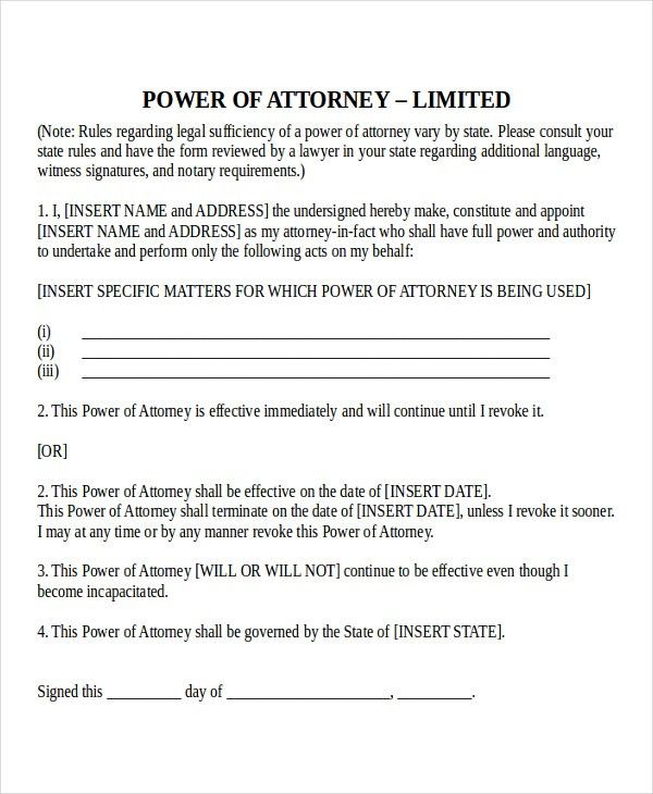 Sample Blank Power Of Attorney Form. Blank Durable Power Of ...