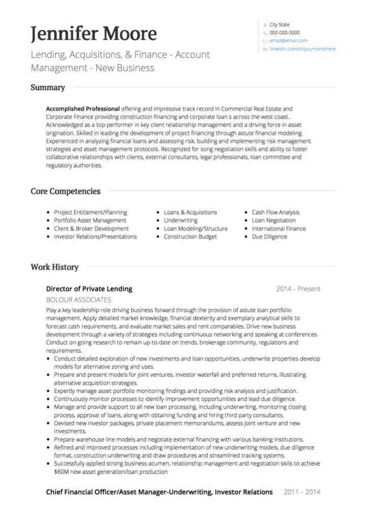 Real Estate CV examples and template
