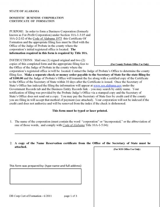 Free Alabama Domestic Profit Articles of Incorporation Template